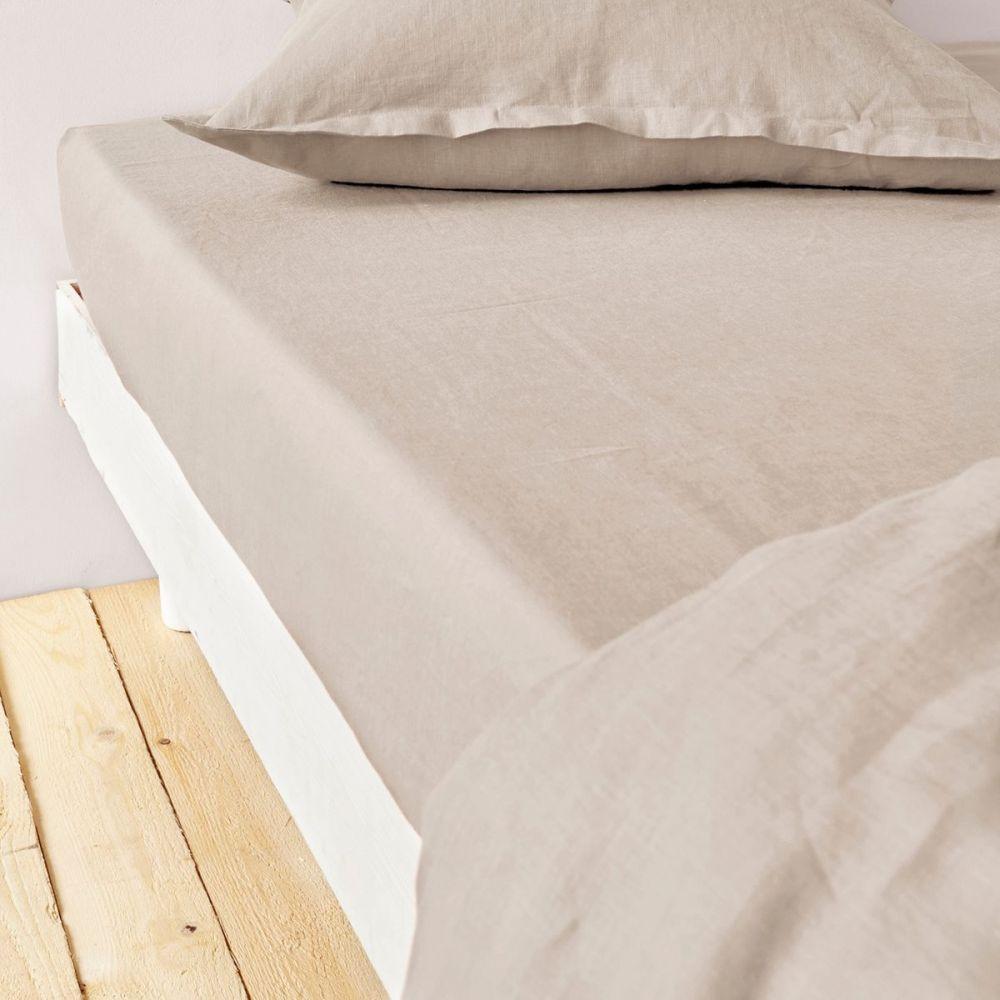 Drap housse premium 140x190 cm Lin métis