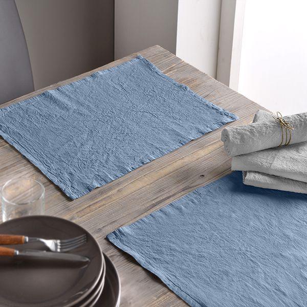 Lot de 2 set de table 30x40 Lin métis - Bleu pétrole