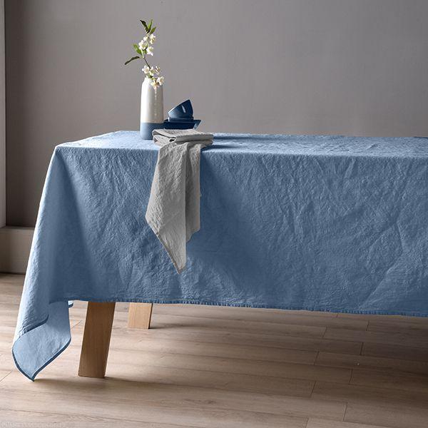 Nappe 160x160 Lin métis - Bleu pétrole