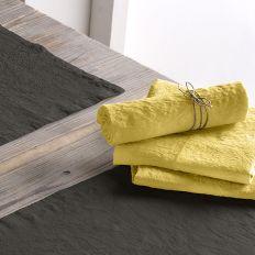 Lot de 2 serviette 45x45 Lin métis - Jaune moutarde