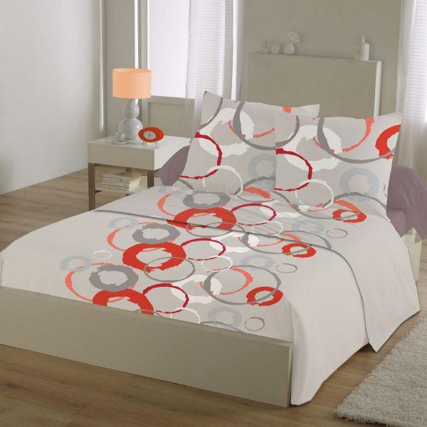 Parure de drap 100% Coton 57 fils Circles Red 240x300
