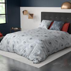 Housse de couette et taie d'oreiller 100% Coton 57 fils Tempo