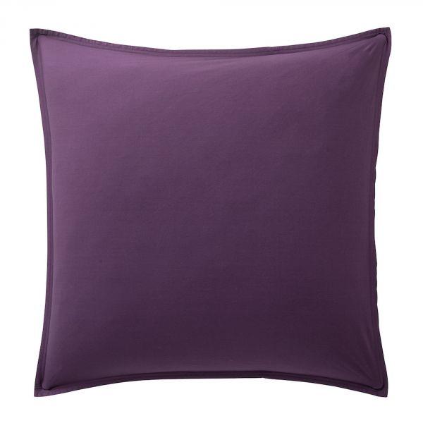 Taie d'oreiller 100% Percale de Coton Lavé 80 fils Bâton Rouge Violet