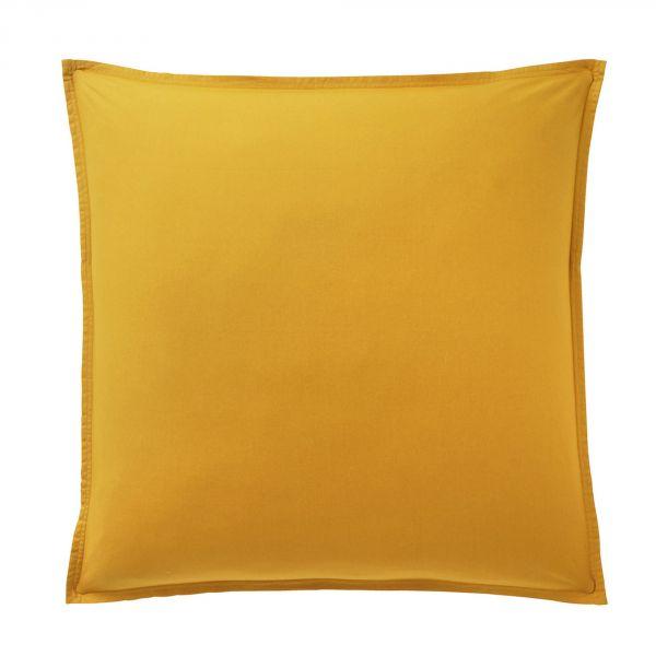Taie d'oreiller 100% Percale de Coton Lavé 80 fils Bâton Rouge Jaune