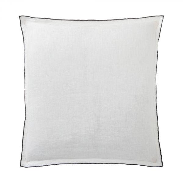 Taie d'oreiller 100% Lin Lavé Bâton Rouge Blanc