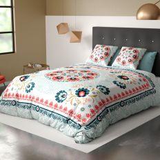 Housse de couette 220x240 cm avec 2 taies d'oreiller 63x63 cm Parure de lit Coton Camelia
