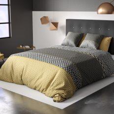 Housse de couette 240x260 cm avec 2 taies d'oreiller 63x63 cm Parure de lit Coton Beho