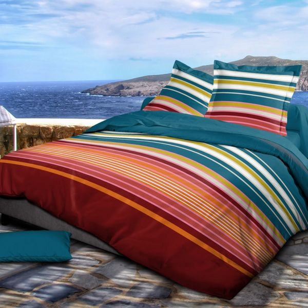 Housse de couette 220x240 cm avec 2 taies d'oreiller 63x63 cm Parure de lit Coton Sonia