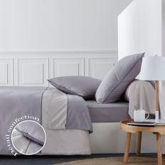 Housse de couette 220x240 cm avec 2 taies d'oreiller 63x63 cm Parure de lit Percale de Coton Sidney Cendre