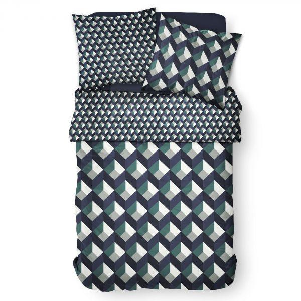 Parure de lit housse de couette Réversible avec taies d'oreiller 100% Coton 57 fils 6.3