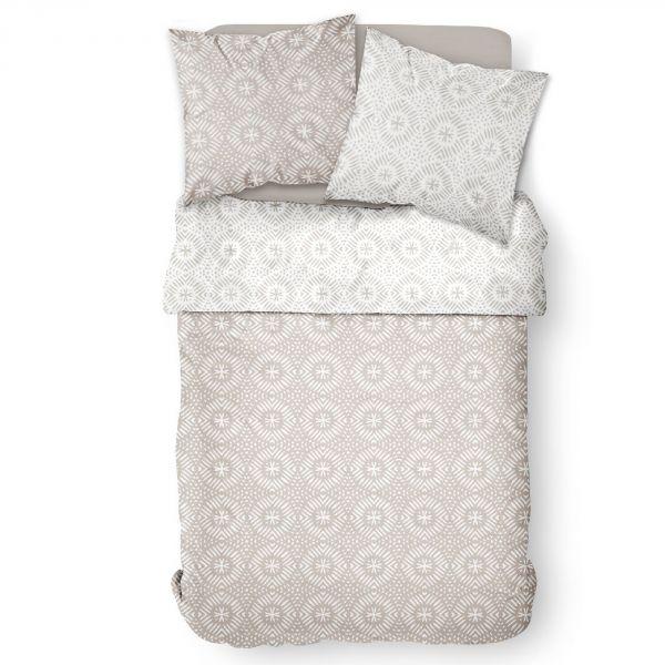 Parure de lit housse de couette Réversible avec taies d'oreiller 100% Coton 57 fils 6.11