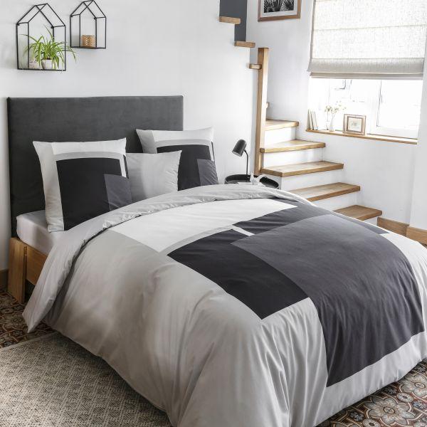 Parure de lit housse de couette avec taies d'oreiller 100% Coton 57 fils Harry Perle