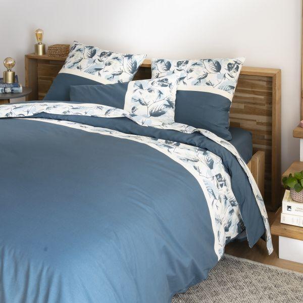 Parure de lit housse de couette avec taies d'oreiller 100% Coton 57 fils Automnia Ocean Blue